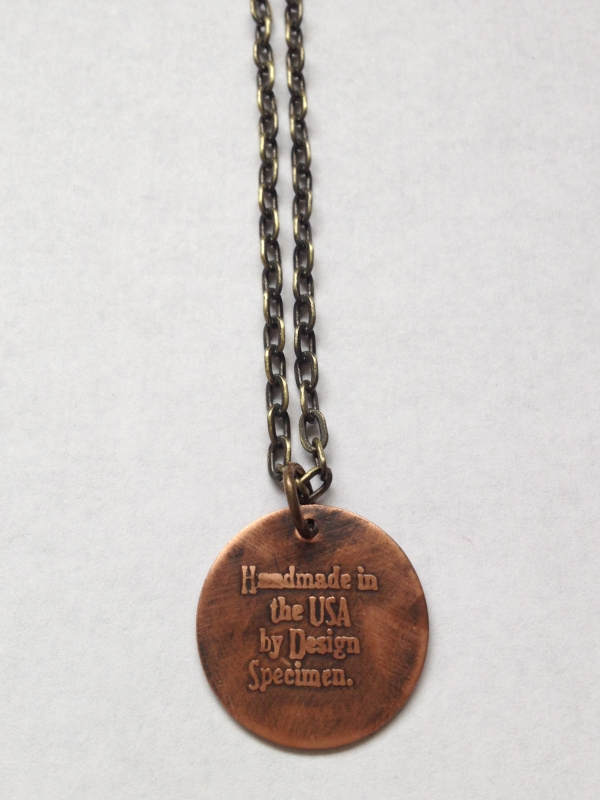 Etched Copper Vegan Heart Necklace Back