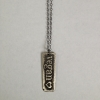 Silver Etched Vegan Necklace Front
