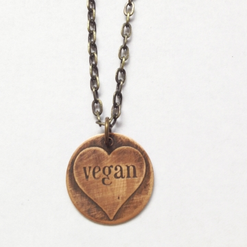 MADE TO ORDER- Etched Copper Vegan Heart Necklace-Vegan/Animal Rights Inspired